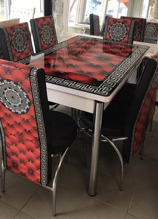 Самая низкая цена ! Кухонный Раскладной стол и 6 стульев Стекло Т