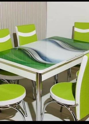 Комплект стол и стулья 3D Стол +4 стулья Кухонный стол и стулья