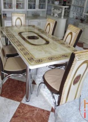 Комплект стол и стулья 3D Стол + 6 стульев Кухонный стол и стулья