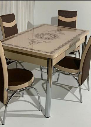 Распродажа! Раскладной стол ( закаленное стекло ) и 4 стульев Тур