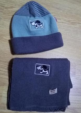 Комплет шапка и шарф happy kids+ подарок шапка