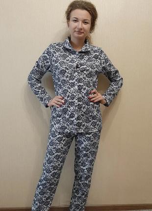 Теплая женская пижама /байковая пижама /пижама начесная с воро...