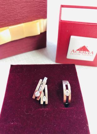Набор серебро с золотом серьги и кольцо