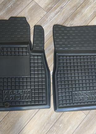 Передние резиновые коврики Nissan Micra K13 Ниссан Микра K13