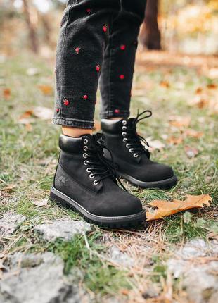 """Черные демисезонные ботинки унисекс timberland """"black"""" термо"""