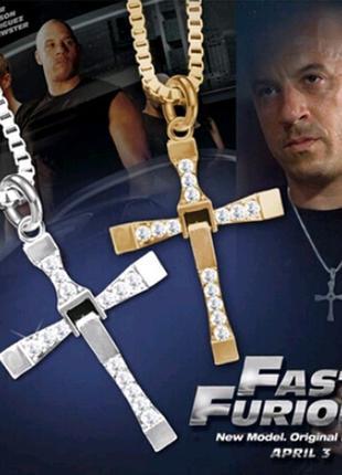 Крест Доминика Торетто (кулон Вина Дизеля) на цепочке Gold Silver