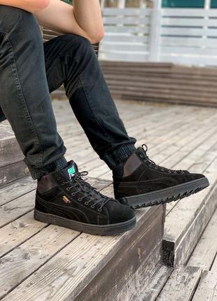 Ботинки кроссовки натуральный мех puma suede