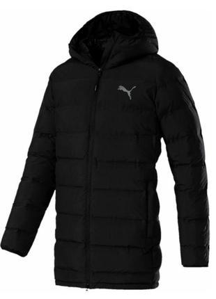 Удлинённая зимняя мужская куртка пуховик