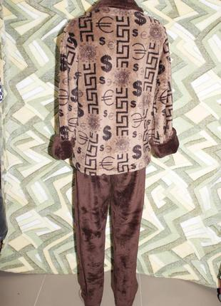 Домашний костюм пижама махровый на молнии