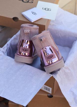 Угги ugg mini pink metallic уггі сапоги