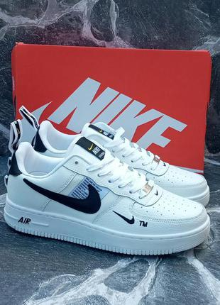 Мужские кроссовки nike air force кожаные.белые.осенние