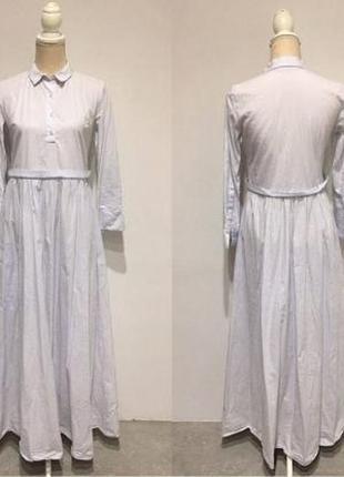 Голубое платье-рубашка в пол zara trafaluc collection, s.