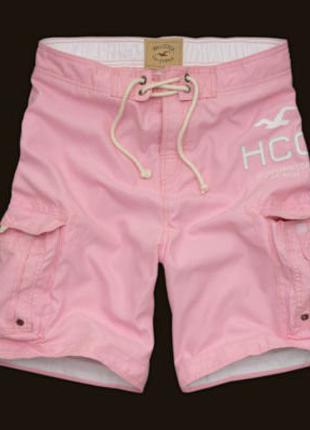 Мужские шорты Hollister карго Хайповые широкие розовые новые