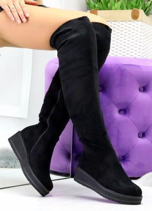 Зимние чёрные сапоги женские ботфорты