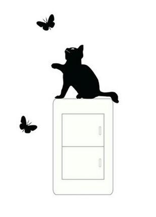 Виниловая наклейка для декора спальни кот с бабочками