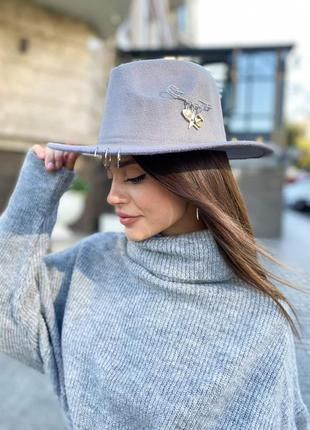 Шляпа фетровая федора унисекс с устойчивыми полями и кольцами ...