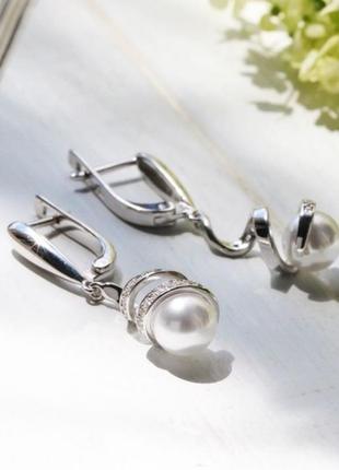 Серьги серебро 925 жемчуг лк0155