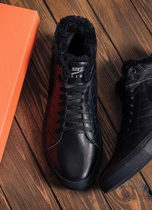 Мужские зимние кожаные ботинки nike black leather