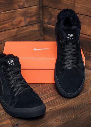 Мужские зимние кожаные ботинки nike black
