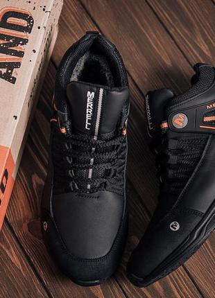 Мужские зимние кожаные ботинки merrell black orange