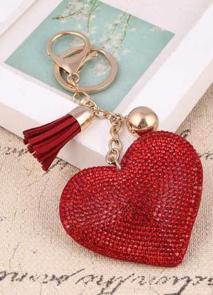 Брелок на сумку Сердце кристаллами/ключи/подвеска/подарок/ОПТ