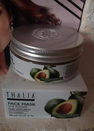 Глиняная маска для лица thalia с маслом авокадо, юнайс