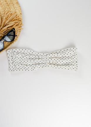 H&m белый хлопковый бикини топ-бандо в горошек, бандажный лиф,...