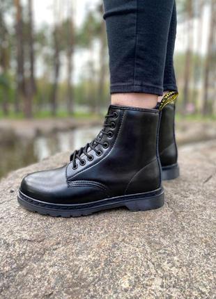 Шикарные женские ботинки dr. martens 1460 mono black на меху  ...