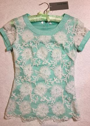 Блузка с кружевом размер xs