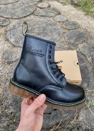Шикарные женские ботинки dr. martens 1460 black на меху наложка