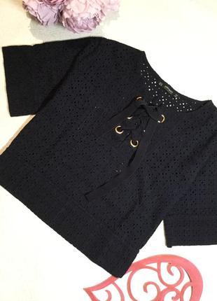 Блузка с шитьём и шнуровкой от zara 12 размер