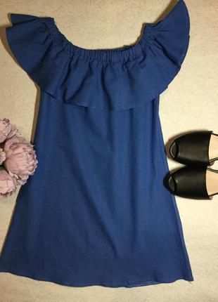 Платье с воланом на плечи размер xs