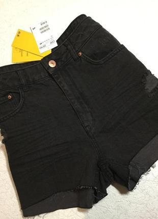 Шорты джинсовые с потёртостями h&m 12 размер