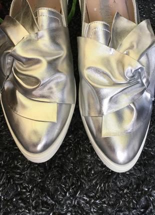 Слипоны туфли серебро бант размер 40