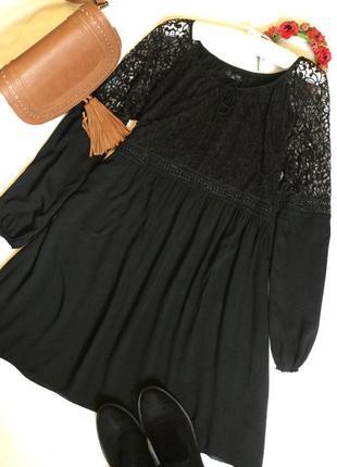 Платье свободное с ажурным верхом размер m/l