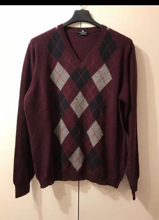 Пуловер slimfit Prince of argyle 42 - 50 размер шерсть свитер