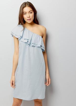 Платье  с воланом на одно плечо 💯 % лиоцель new look 16 размер