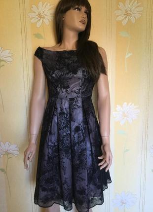 Платье вечернее кружевное вышивка на сетке f&f размер xs