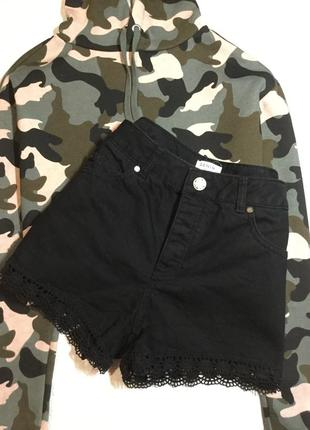Шорты джинсовые с кружевом miss selfridge  10 размер
