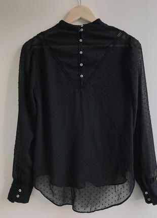Черная полупрозрачная блуза stradivarius