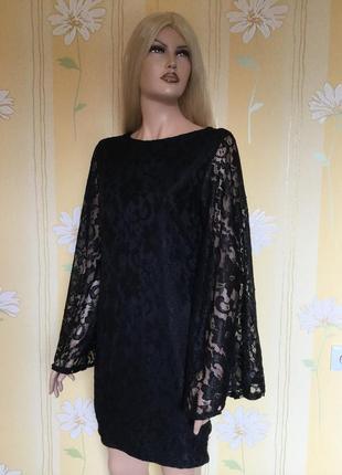 Платье вечернее кружевное с широкими рукавами boohoo 12 размер