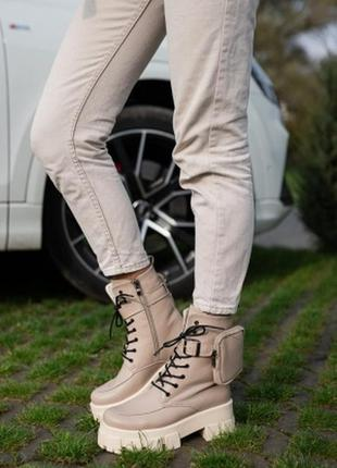 Ботинки кожаные зимние на танкетке , платформе осень
