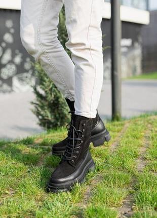 Зимние замшевые ботинки на платформе ,танкетке , ботинки осень