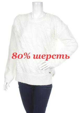 Мягчайший шерстяной свитер с косами replay