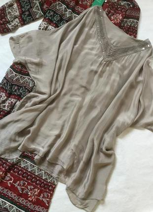 Блуза туника 💯 % шёлк размер 16/18 италия
