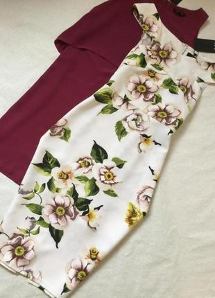 Платье нарядное коктейльное миди в цветы ax paris 12 размер