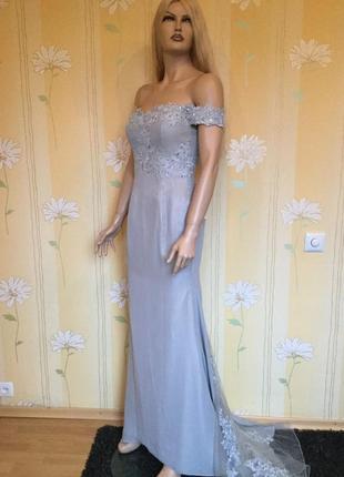Платье вечернее выпускное свадебное с шлейфом adas bridal разм...