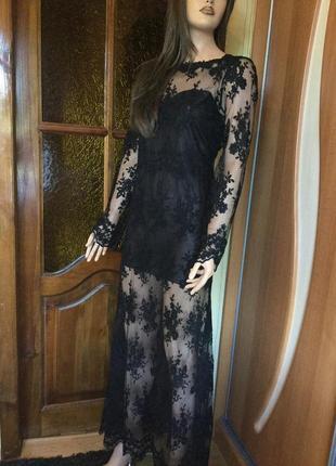 Платье вечернее вышивка на сетке 12 размер