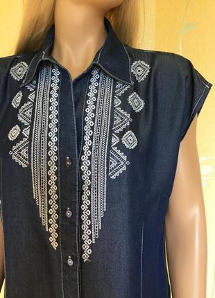 Платье рубашка 💯 % лиоцель с вышивкой punt roma 16 размер