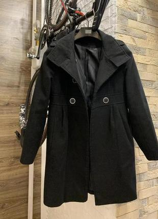 Пальто чёрное женское демисезон